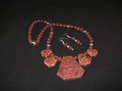 Apache Jasper with brown lava beads - 20 1/2""